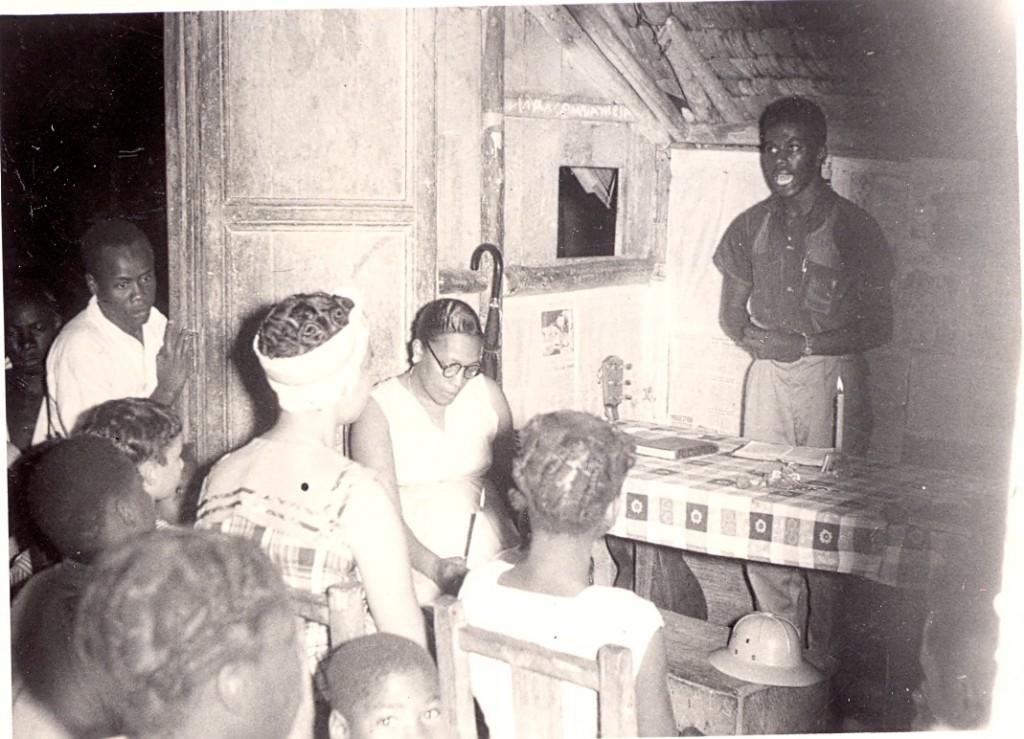 Gospel service in a home in Istimina, Choco. Esquivel Mosquera preaching.
